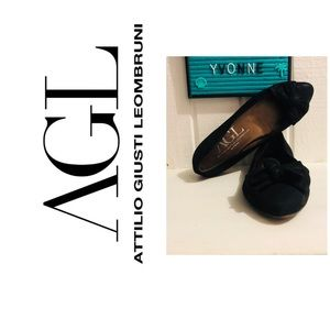 AGL Suede Leather Bow Ballet Flats Italy